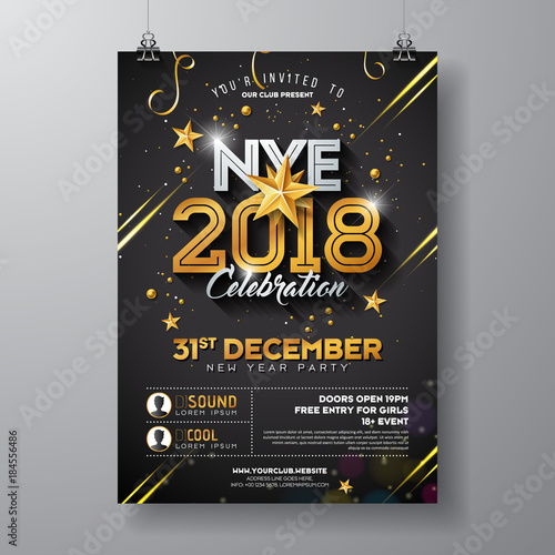 Fotografia 2018 New Year Party Celebration Poster Template Illustration with Shiny Gold Number on Black Background