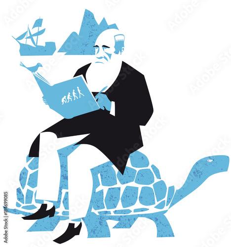 Fotografiet Charles Darwin, the Origin of Species, vector illustration