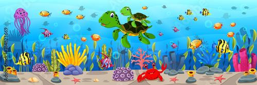 Fototapeta premium Kreskówka żółw pod wodą