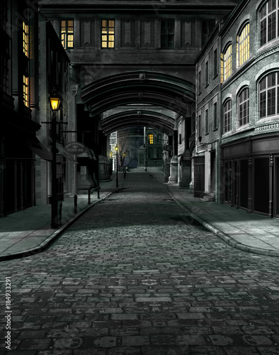 Fotomural Street at Night with 19th Century City Buildings