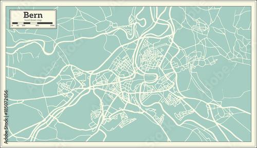 Photo Bern Switzerland Map in Retro Style.