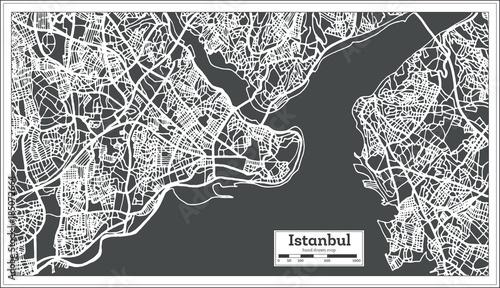 Obraz na plátně Istanbul Turkey Map in Retro Style.