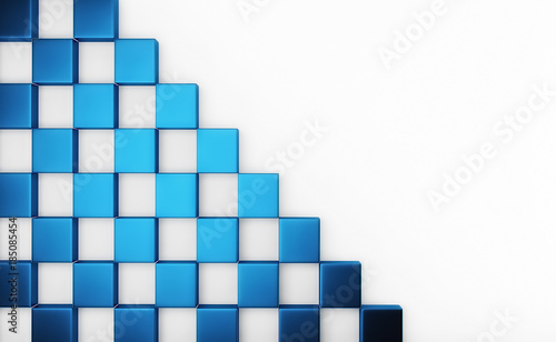 Fototapeta premium Streszczenie tablicy shinny niebieskie kostki na białym tle z miejsca na tekst. Renderowania 3d