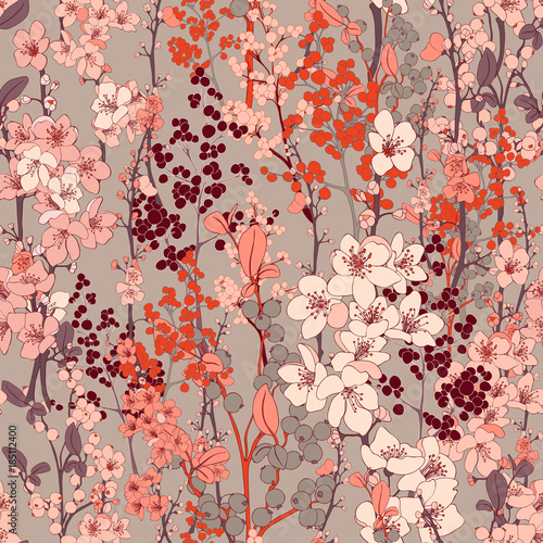 Cherry Blossom Vector Seamless Background Fototapeta