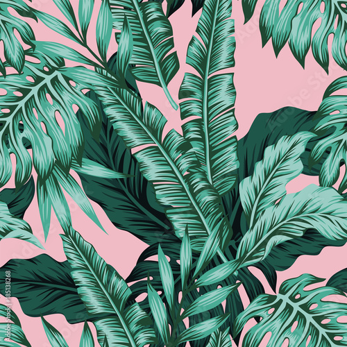 Carta da parati Tropical leaves green seamless pink background