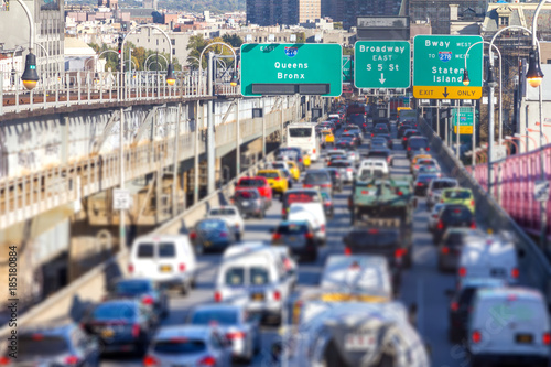 Rush hour traffic jam with cars, trucks, buses, and taxis on the Williamsburg Bridge in Brooklyn New York City NYC
