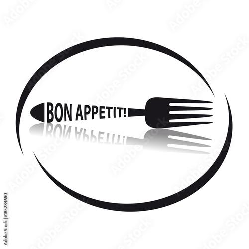 Vászonkép Fork Icon Bon Appetit - Circular Restaurant Symbol