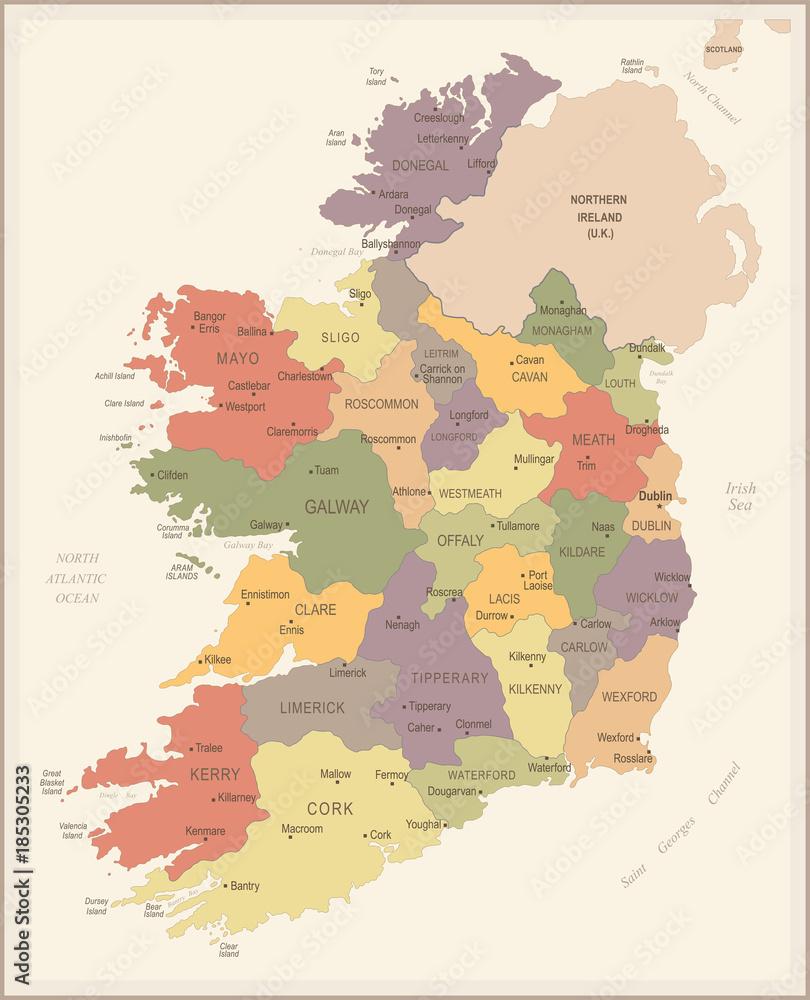 Irlandia - vintage mapy i flagi - szczegółowe wektorowej <span>plik: #185305233 | autor: Porcupen</span>