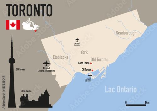 Wallpaper Mural Toronto - plan de Toronto - Carte - ville - Canada -CN Tower - monument - voyage