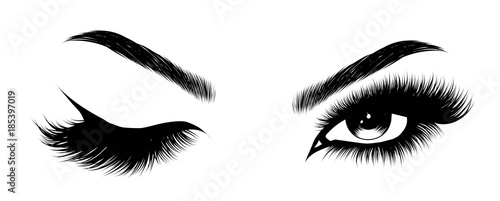 Obraz na płótnie Hand-drawn woman's sexy makeup look with perfectly perfectly shaped eyebrows and extra full lashes