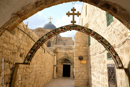 Arch at Station 9 on Way of the Cross near Coptic Patriarchate in Old City of Jerusalem Fototapete