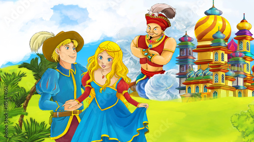 cartoon scene with loving couple prince and princess illustration for children