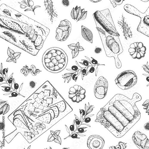 Obraz na płótnie Gourmet snacks seamless pattern