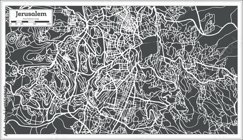 Photo Jerusalem Israel City Map in Retro Style.