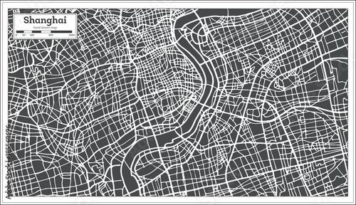 Fotografie, Obraz Shanghai China City Map in Retro Style.