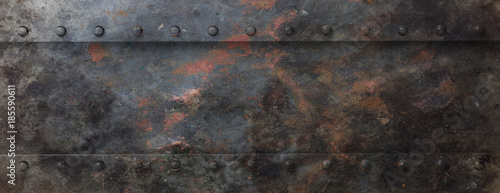 Rusty black metal plate with bolts background, banner. 3d illustration