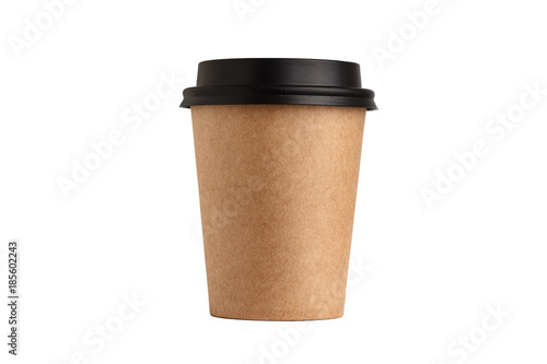 Blank take away kraft coffee cup isolated on white background.