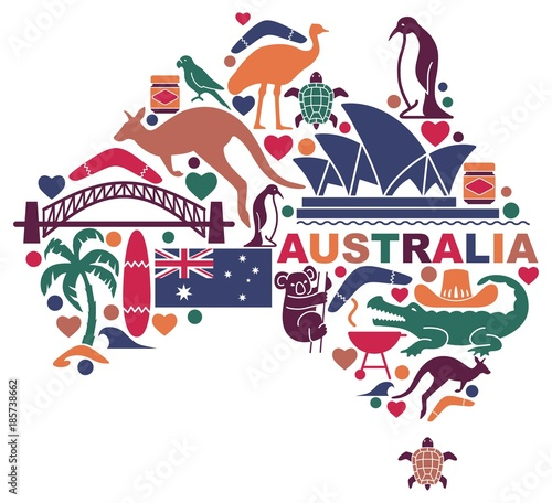 Canvas Print Australian icons in the form of a map