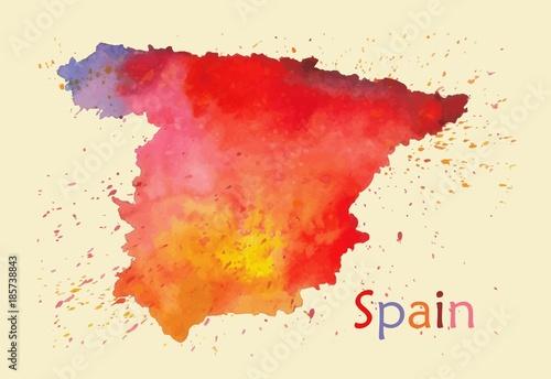 Wallpaper Mural Stylized map of Spain
