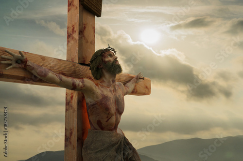 Slika na platnu 3D Illustration of Jesus Christ on the cross