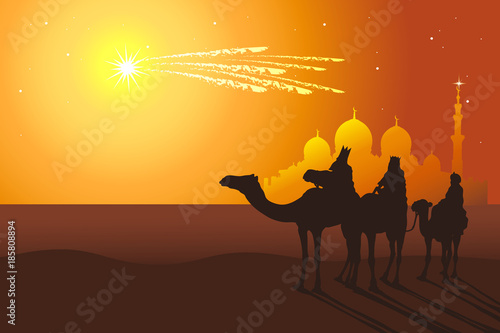 Vászonkép Three Kings ride camels from Oriental countries