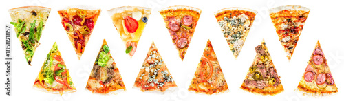 set of a slice of delicious fresh Italian pizza isolated on a white background