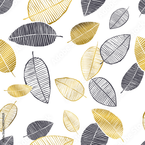 Fototapeta Vector seamless pattern with hand drawn golden, black, white watercolor and ink leaves