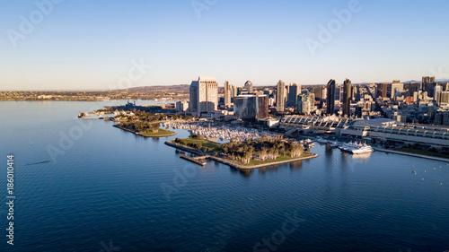 Obraz na plátne Drone view of San Diego from the bay
