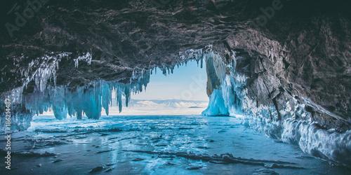 Obraz na plátne Ice cave, Lake Baikal, Winter landscape.