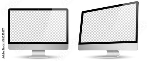 Computer screen transparancy view left and front isolated white background. Vector illustration.