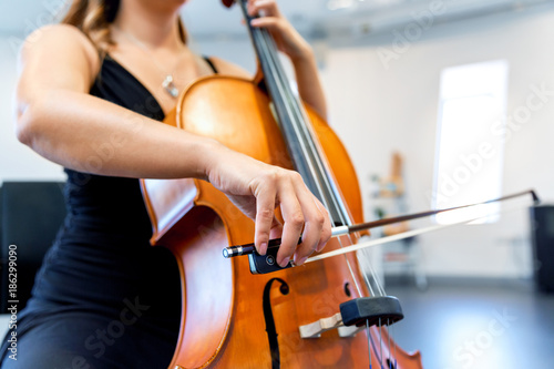 Fotografiet Close up of cello with bow in hands
