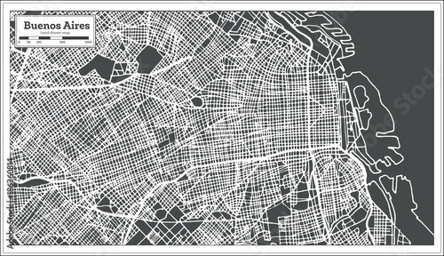 Canvas Print Buenos Aires Argentina City Map in Retro Style. Outline Map.