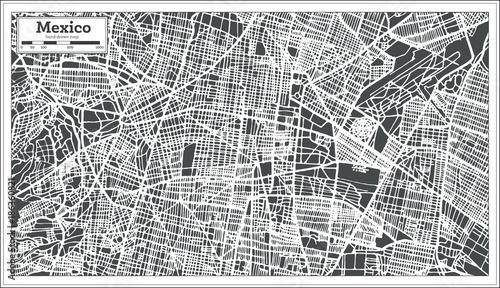 Fotografie, Obraz Mexico City Map in Retro Style. Outline Map.