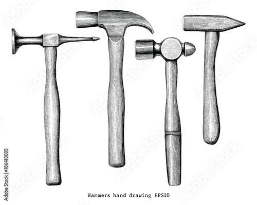 Photo Hammers hand drawing vintage style isolate on white background