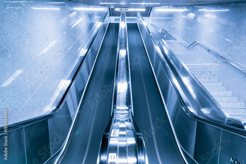Entrance metro railway station cripple stairs Fotobehang