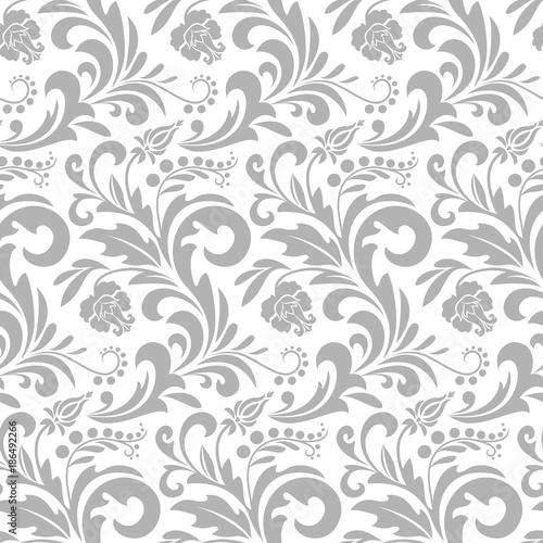 Tapeta w stylu barokowym. Bezszwowe tło wektor. Szara i biała tekstura. Kwiatowy ornament. Wektor graficzny wzór