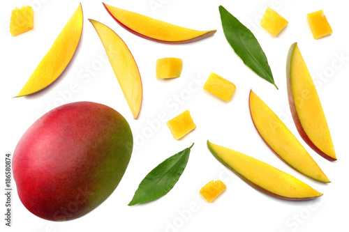 Wallpaper Mural mango slice with green leaves isolated on white background