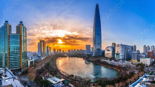 Photo Twilight sunset at han river seoul korea
