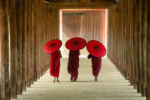 Myanmar Novice monks are walking in pagoda the temple salay Burma.