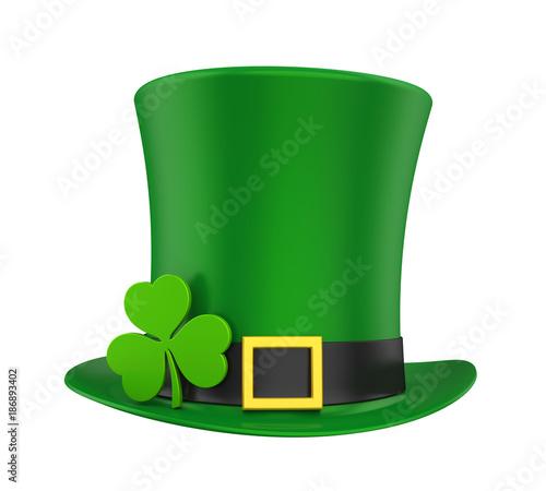 Obraz na płótnie St. Patrick's Day Hat with Clover Isolated