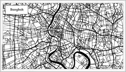 Obraz na plátně Bangkok Thailand City Map in Black and White Color.