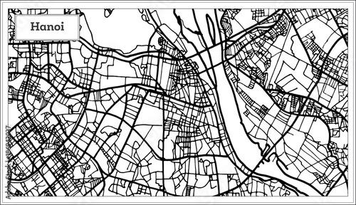 Obraz na plátně Hanoi Vietnam City Map in Black and White Color.
