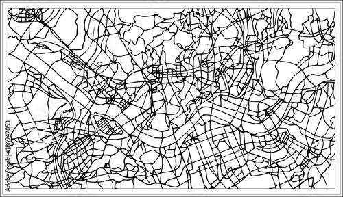 Obraz na plátně Seoul Korea City Map in Black and White Color.