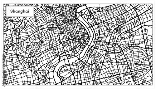 Fotografie, Obraz Shanghai China City Map in Black and White Color.