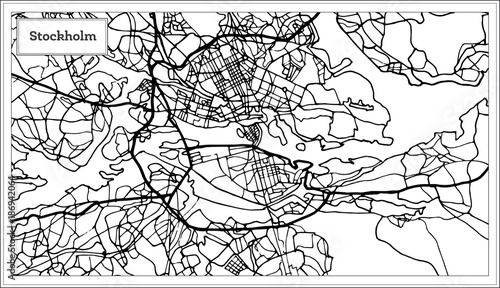 Photo Stockholm Sweden Map in Black and White Color.
