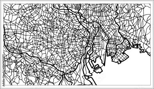 Fotografie, Obraz Tokyo Japan City Map in Black and White Color.