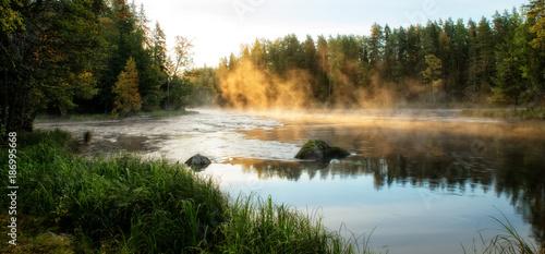 Photo River in autumn. Farnebofjarden national park in Sweden