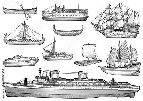 Fototapeta Ship, boat illustration, drawing, engraving, ink, line art, vector