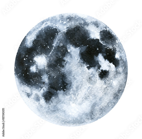 Canvas Print Big watercolor moon illustration