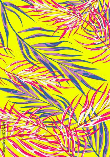 Tło Tropic Summer Vibes Leaf. Ilustracja W.